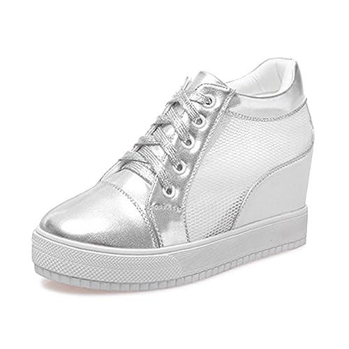 Chaussure Mode Baskets Dentelle Femme Sneaker Talon Compensé 7 CM ... 923a7008e8c6