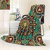 Throw Fuzzy Fleece Microfiber Blanket Pattern Mandala Style Islamic Medieval Arabesque Motifs Oriental Ethnic Design Red Green,Silky Soft,Anti-Static,2 Ply Thick Blanket. (62''x60'')