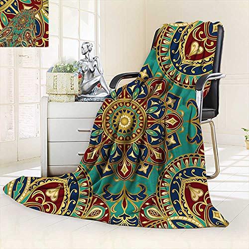 Throw Fuzzy Fleece Microfiber Blanket Pattern Mandala Style Islamic Medieval Arabesque Motifs Oriental Ethnic Design Red Green,Silky Soft,Anti-Static,2 Ply Thick Blanket. (62''x60'') by vanfan