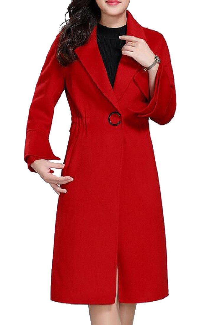 Comfy Women Double-Faced Woolen Goods Wedding Party Overcoat Peacoat Red 2XL