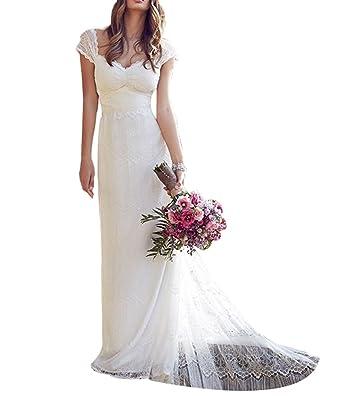 17f5ce932e LADY Women's Lace Applique Backless Empire A Line Beach Boho Wedding Dress  at Amazon Women's Clothing store:
