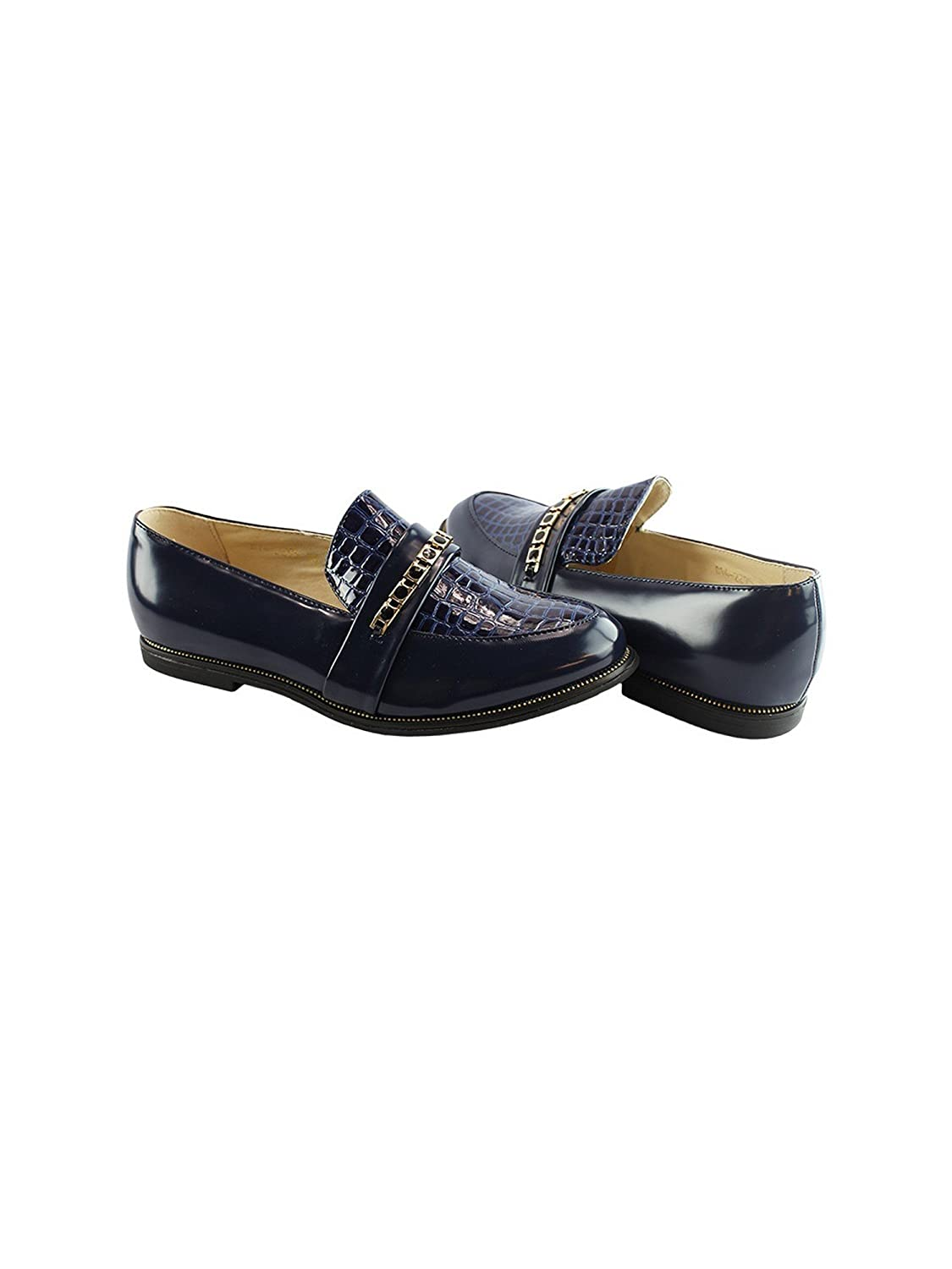 Liyu Adult Blue Snake Skin Top Panel Stone Accented Slip-On Shoes 6-10 Women