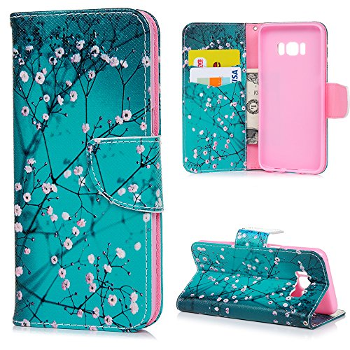 Galaxy S8 Case, YOKIRIN Classic Cherry Blossom Magnetic Style PU Leather Case Wallet Flip Stand Flap Closure Cover with ID&Credit Card Holder Shockproof Cover for Samsung Galaxy S8