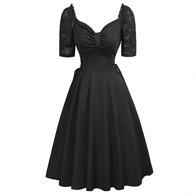 2e0ad5935063b Trendy-Nicer 2018 Black Party Dress Vintage Casual Punk Gothic Swing ...