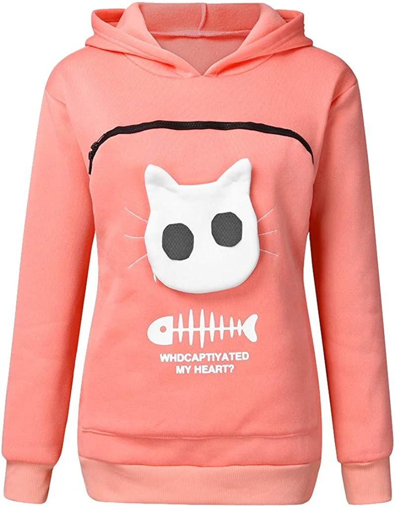 Women/'s Sweatshirt Animal Pouch Hood Tops Carry Cat Breathable Pullover Blouse Long Sleeve Pocket Outwear Jacket