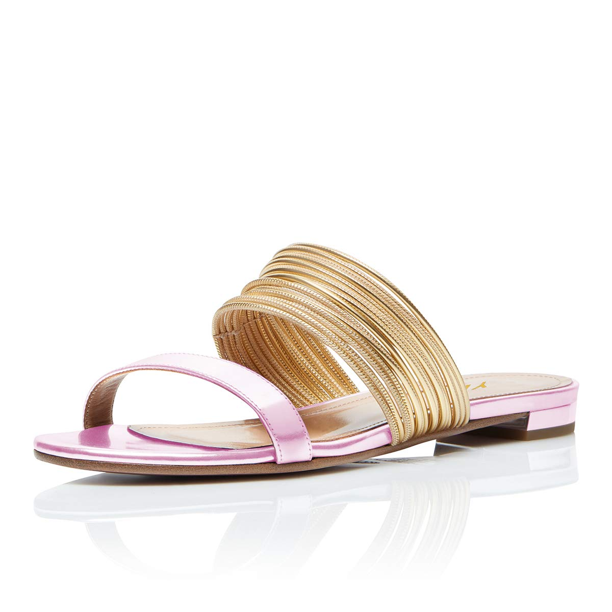 YDN Women Fashion Open Toe Low Heel Mules Sandals Slip on Clogs Slide Shoes Pink 10
