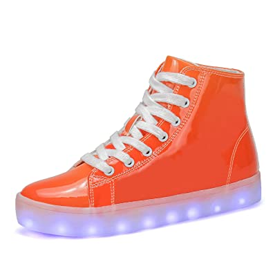 Voovix Boys Girls Light up Shoes Kids LED Shoes Flashing Trainers with  Lights(Orange 1a83b92af