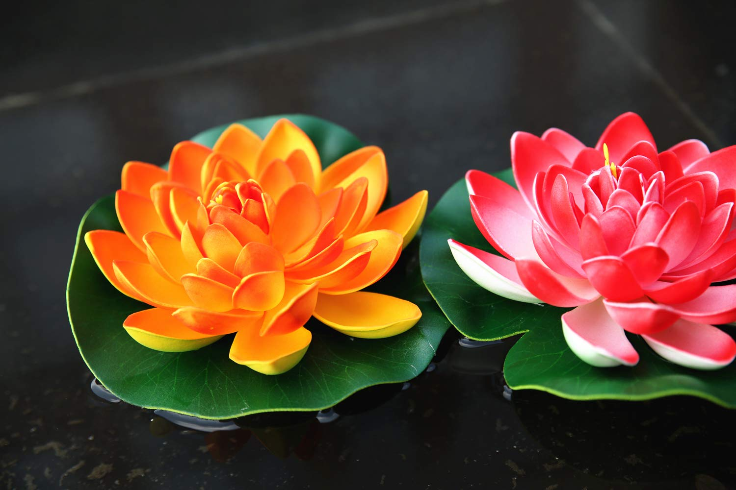 Amazon navadeal artificial floating flower lotus set of 4 amazon navadeal artificial floating flower lotus set of 4 pink purple orange crimson the most durable and beautiful decorations for gardens patios izmirmasajfo