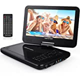 "DBPOWER® 10.5"" Portable DVD Player, 4 Hour Rechargeable Battery, Swivel Screen, Supports SD Card and USB, Direct Play in Formats AVI/RMVB/MP3/JPEG (10.5, Black)"