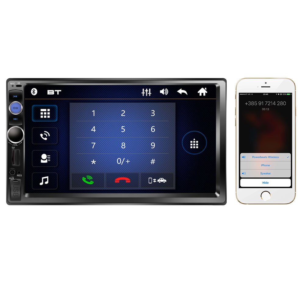 Regetek 7 Double Din Touchscreen In Dash Bluetooth Car Wiring Harness Spanish Stereo Mp3 Audio 1080p Video Player Fm Radio Am Tf Usb Aux Remote Control