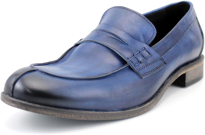 GIORGIO REA Zapatos para Hombre Zapatos para Hombre Hechos a Mano EN Italia La Alta Costura, Mocasines Casuales, Cómodo, Azul