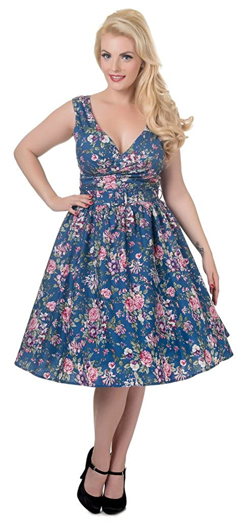f8f1addab49276 Dolly & Dotty 'May' V-neck 50's Pinup Style Dress in Peacock Blue Floral  Print Size 8: Amazon.co.uk: Clothing