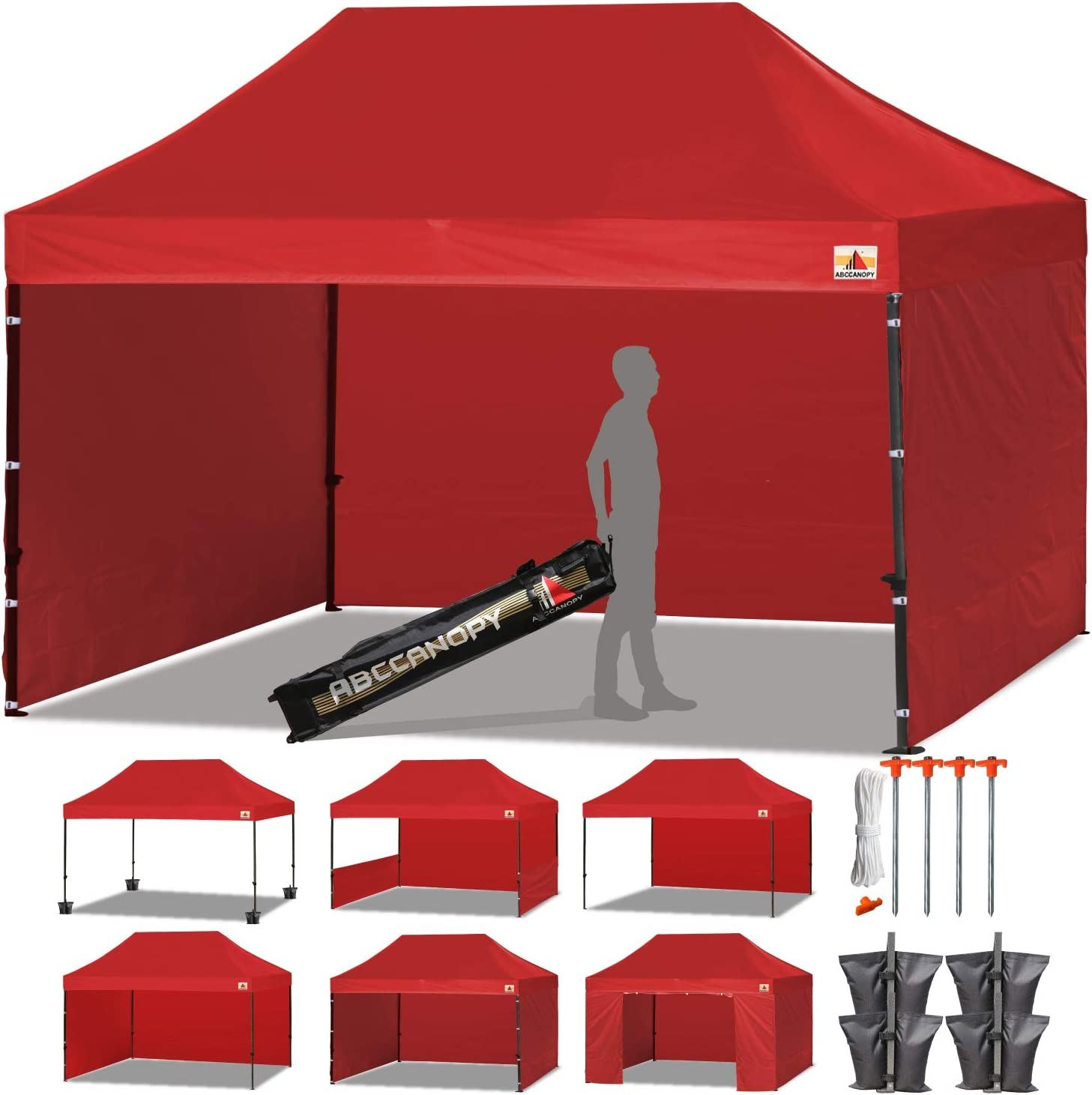 ABCCANOPY 23 Colors Deluxe 10×15 Pop up Canopy Outdoor Party Tent Commercial Gazebo with Enclosure Walls and Wheeled Carry Bag Bonus 4 Weight Bags and 2 Half Walls Red