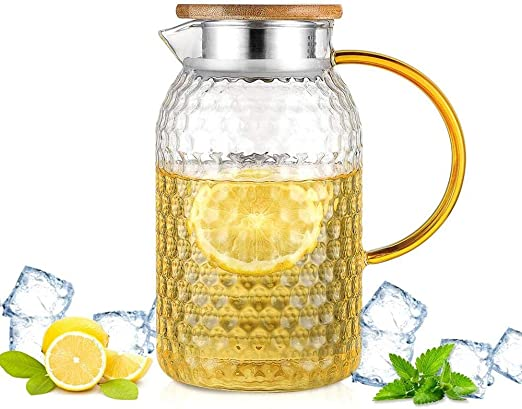 Jarra de botella de agua de vidrio Mangos de cristal Cubierta de ...