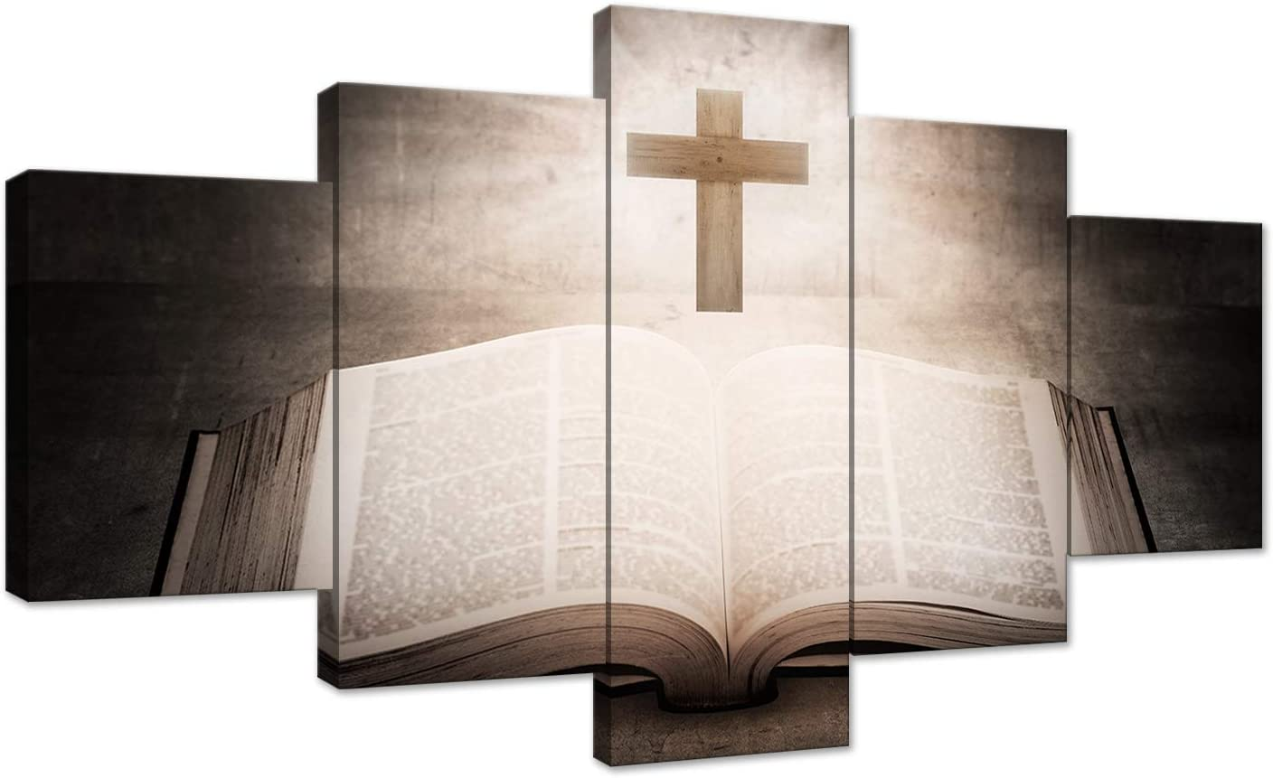 AMEMNY 5 Panels Christian Jesus Cross Painting Print Poster Wall Art Sunshine Bible Book Background Paintings Home Decor Paintings Living Room Decorating Framed Ready to Hang