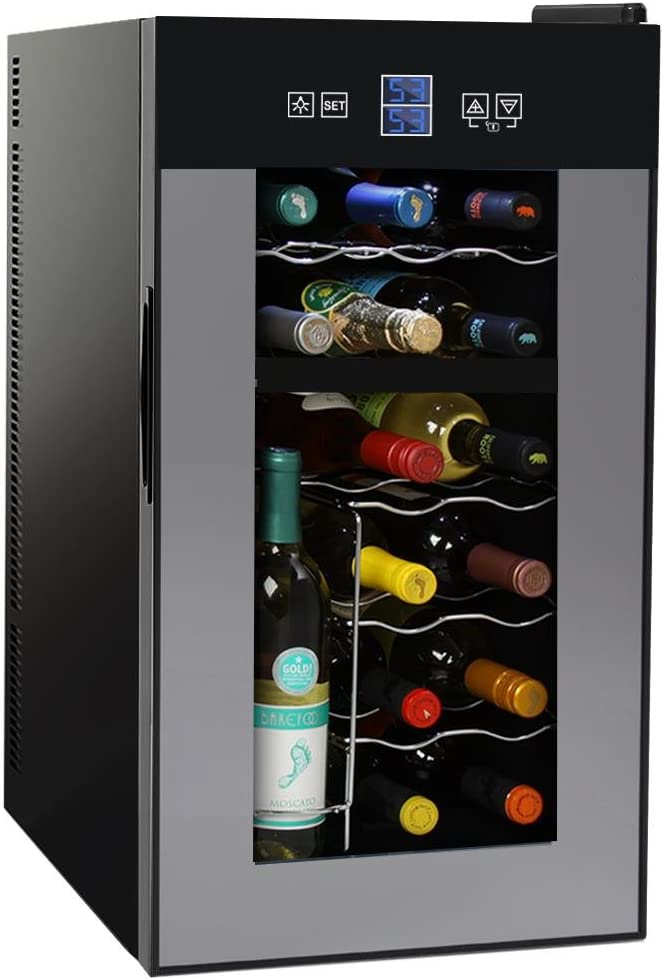 Amazon Com Nutrichef Pktewcds1802 18 Bottle Dual Zone Thermoelectric Wine Cooler Red And White Wine Chiller Countertop Wine Cellar Freestanding Refrigerator With Lcd Display Digital Touch Controls Kitchen Dining