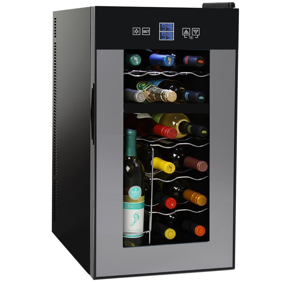 NutriChef Thermoelectric Wine Cellar - Red and White Wine Cooler- Dual Zone Wine Chiller - 18 Bottles Countertop Wine Refrigerator - LCD Display Digital Touch Controls – Great for Home or Events