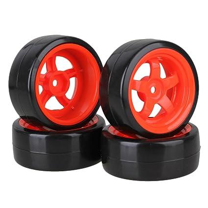Neumáticos lisos de deriva de plástico negro de 65 mm con llantas rojas de 5 rayos
