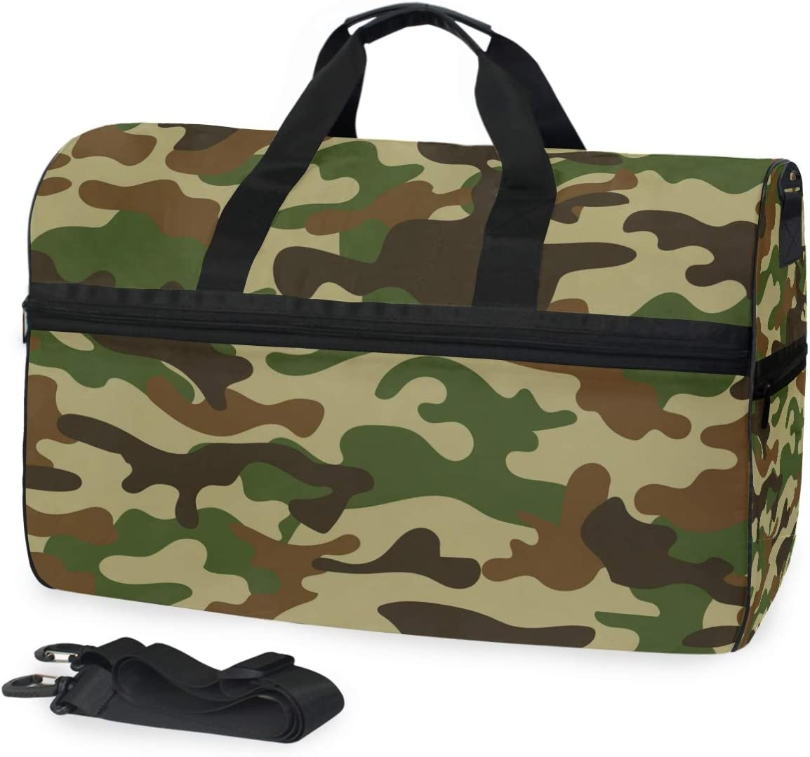 Military Camouflage Sports Gym Bag with Shoes Compartment Travel Duffel Bag for Men and Women