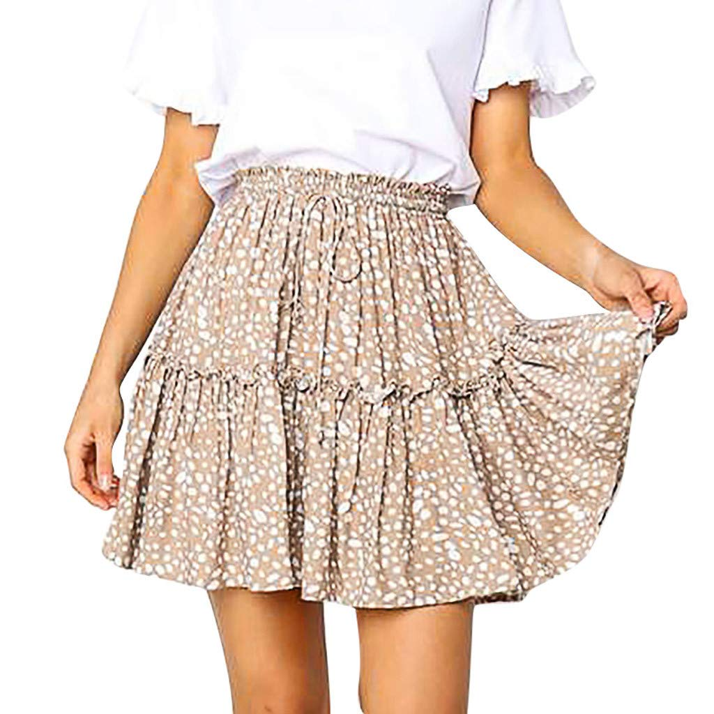 Women Pleated Skirt, Lady Fashion A-Line Lace Skirt Casual Polka Dot Print Ruffles Lace Up Short Skirt