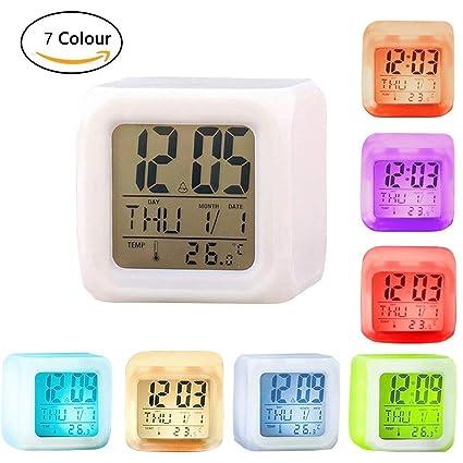 VanseRun Despertadores, Reloj Alarma, Clock, Despertadores Cambiado Entre 7 Colores con Pantalla Presentación de Hora, Fecha, Temperatura, Función ...
