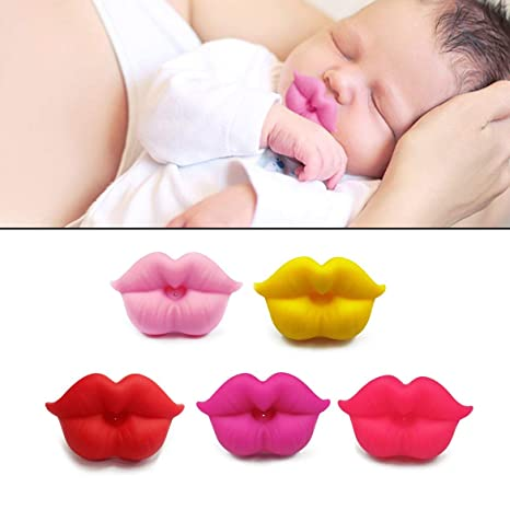 Silicona de Calidad Alimenticia bebé chupete de labios de la boca en forma de bebés y niños pequeños bebé Chupete Mordedor divertido del pezón ...