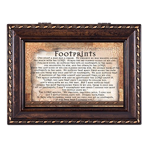 (Cottage Garden Footprints in The Sand Never Leave You Burlwood Rope Trim Jewelry Music Box Plays Canon in D)