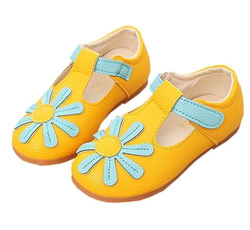 Vokamara Niña T-Correa Zapatos Escolares Flor Mocasines Velcro: Amazon.es: Zapatos y complementos