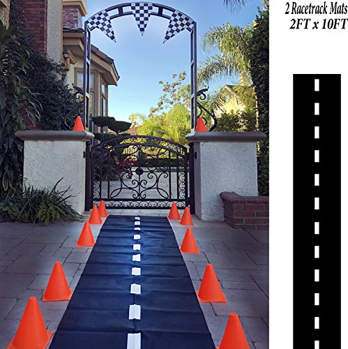 Adorox 2 Pk Racetrack Floor Runner Party Decoration Race Car Theme