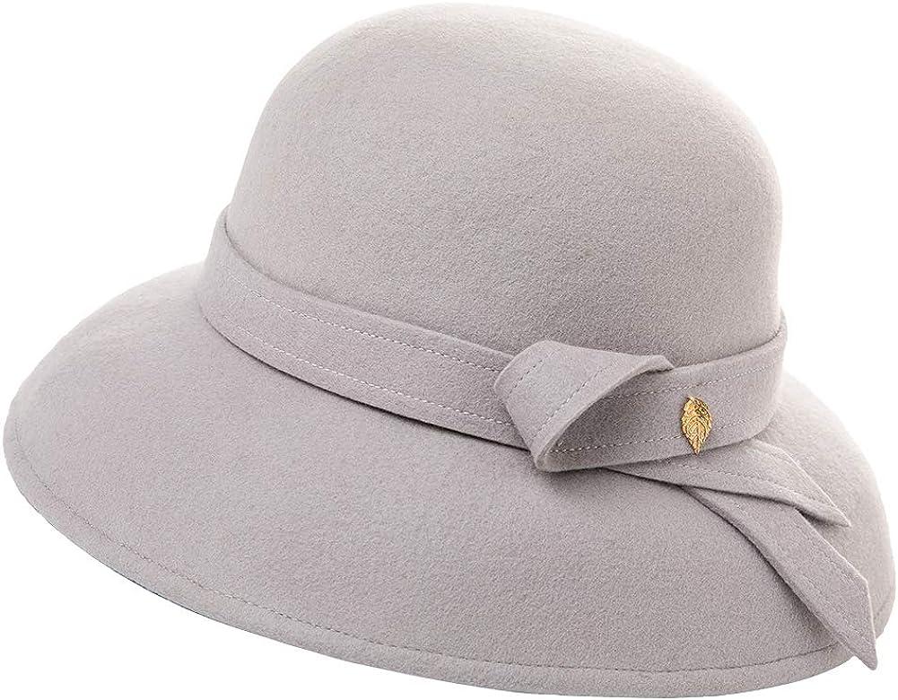 Fancet 100/% Wolle Glockenhut 1920s Retro Fedora Hut Winter breite Krempe