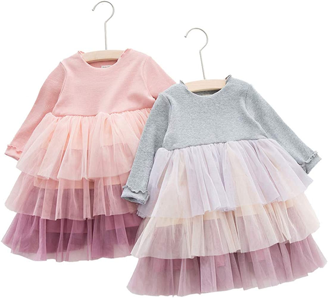 Wang-RX Autumu Niños Princesa Manga Larga Bebé Niñas Vestido de ...