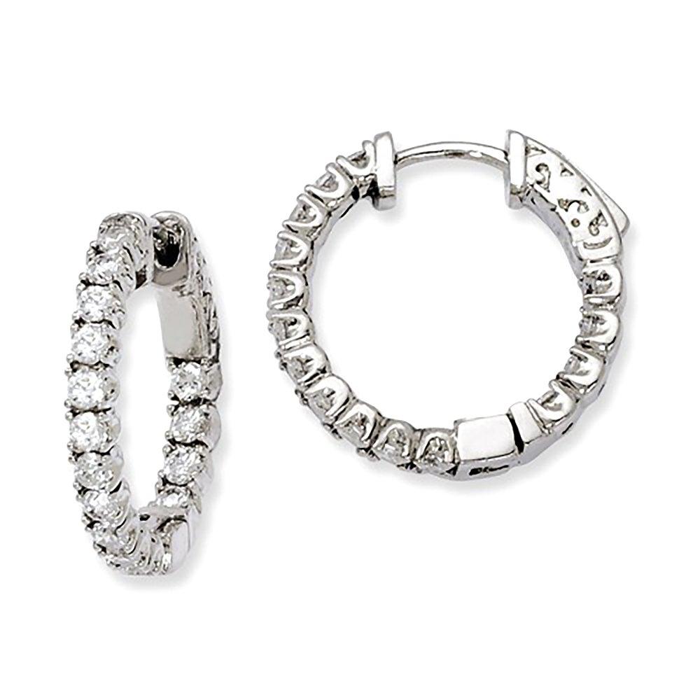 Medium Sterling Silver CZ Inside Out Hinged Hoop Earrings, 0.8 Inch (21mm) (3mm Wide) by LooptyHoops