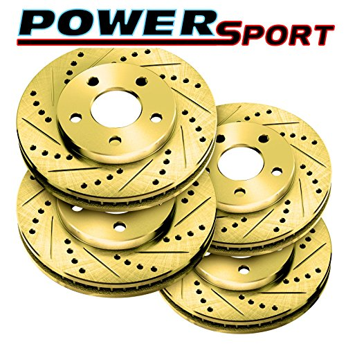 Fit 1992-2000 Lexus SC400, SC300 Front Rear PSport Gold Drill Slot Brake Rotors ()