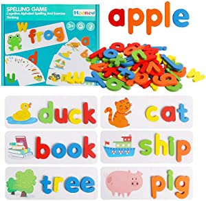 HOONEW See and Spelling Learning Toy Wooden Educational Matching Letter Games Toys Develops Alphabet Words Spelling Skills Letter Block Great Gift for 3-8 Years Girls Boys (52 Pieces)