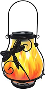 X-PREK 2 Pack Solar Lantern Light for Outdoor Hanging,Solar Flickering Flame Lights with Frosted Glass Lampshade Waterproof Led Landscape Decoration Lighting for Garden Table Patio Decor(Dragonfly)