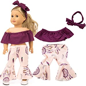 Livoty Doll Clothes Outfits Set Kids Toy Shirt Pants Suit Headband 18 Inch American Toy Girl Doll Accessory Toy (Purple)