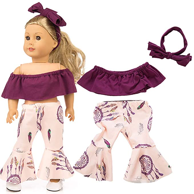 HUHU833 Cute Shirt Pants Headband Outfits For 18 inch Fashion American Girl Doll- Not Include Dolls Blue