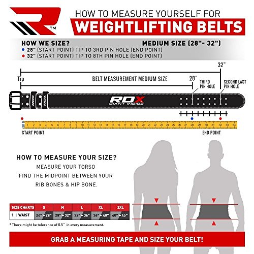 """RDX Weight Lifting Belt Cow Hide Leather Gym 4"""" Training Back Support Fitness Exercise Bodybuilding"""