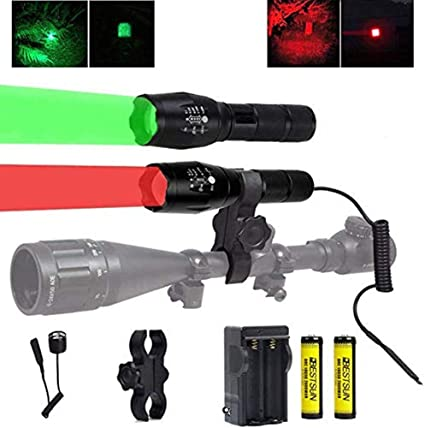 Red or Green Hog Coyote Fox   Rail Mount Hunting LED Night Flashlight Light
