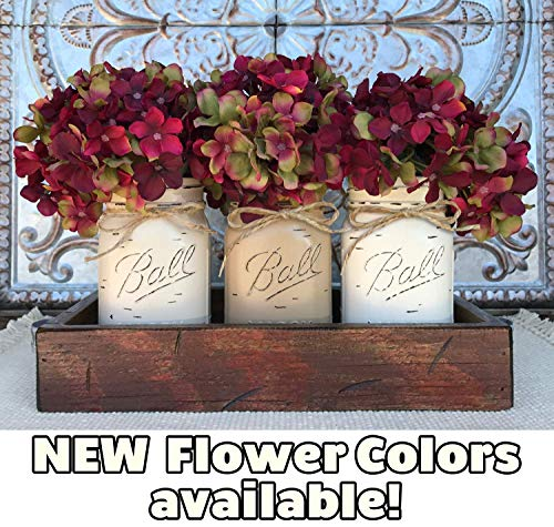 Mason Canning JARS in Wood Antique RED Tray Centerpiece with 3 Ball Pint Jar - Kitchen Table Decor - Distressed Rustic - Hydrangea Flowers (Optional) - SAND, COFFEE, CREAM Painted -