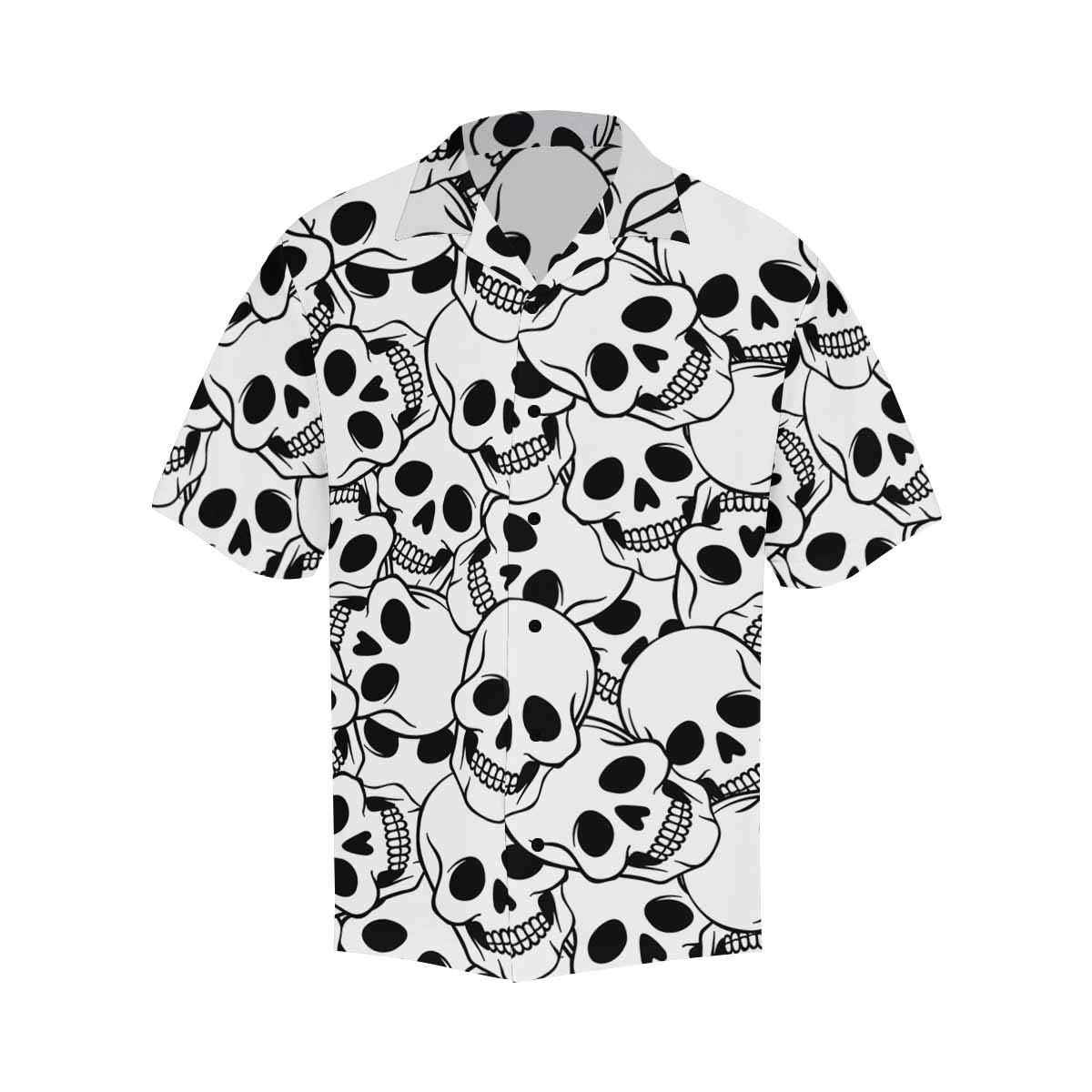 InterestPrint Mens Shirt Skulls Flower Heart Short Sleeve Casual Button Up Mens Shirts