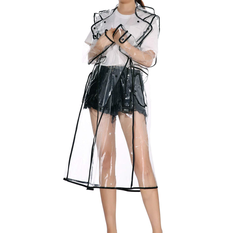 LERTREE Women's EVA Transparent Raincoat Lightweight Rainwear Waterproof Rain Jacket With Belt