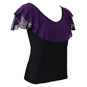 MagiDeal Tee Shirt Danse Femme sans Manches Col Volant Fleur en Glace de  Soie pour Latin 92c47a0a4b9