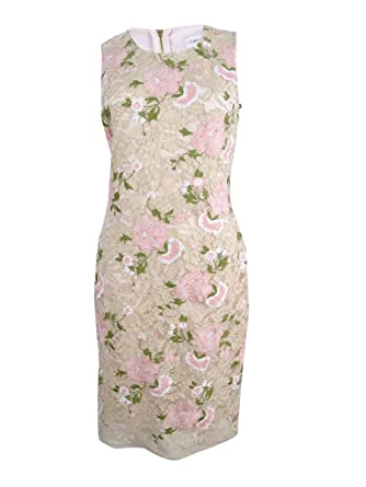 a4003373e08a8 Calvin Klein Women s Petite Embroidered Lace Sheath Dress (0P