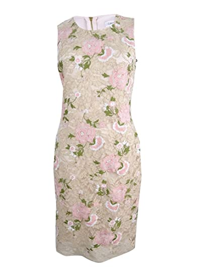 0ac09efe Image Unavailable. Image not available for. Color: Calvin Klein Women's Embroidered  Lace Sheath Dress ...