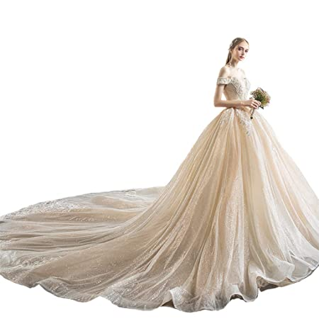 8cd149beb0 Wedding dress One-shoulder Europe And The United States Was Thin Bride  Wedding Spray Gold Craft Princess Ailin home (Color : #002, ...