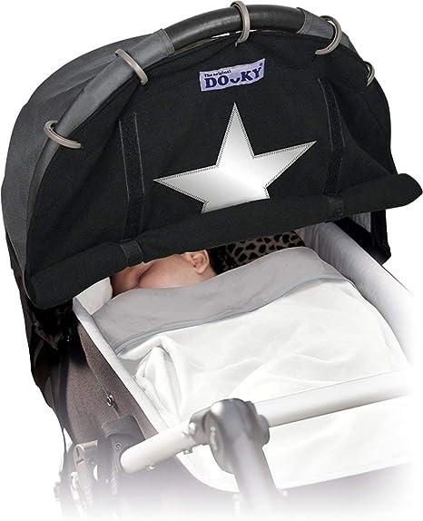 Dooky - Parasol para cochecito de bebé para invierno con estrella reflectante, color negro