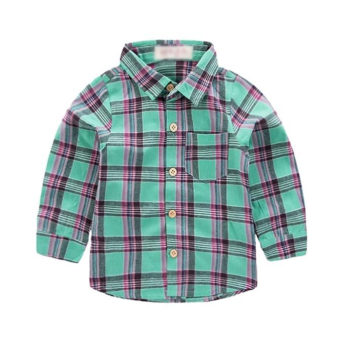 Yiiquan Camisas Niños Camiseta Cuadros Bebé Blusas Manga Largos Solapa con Patrón Imprimir