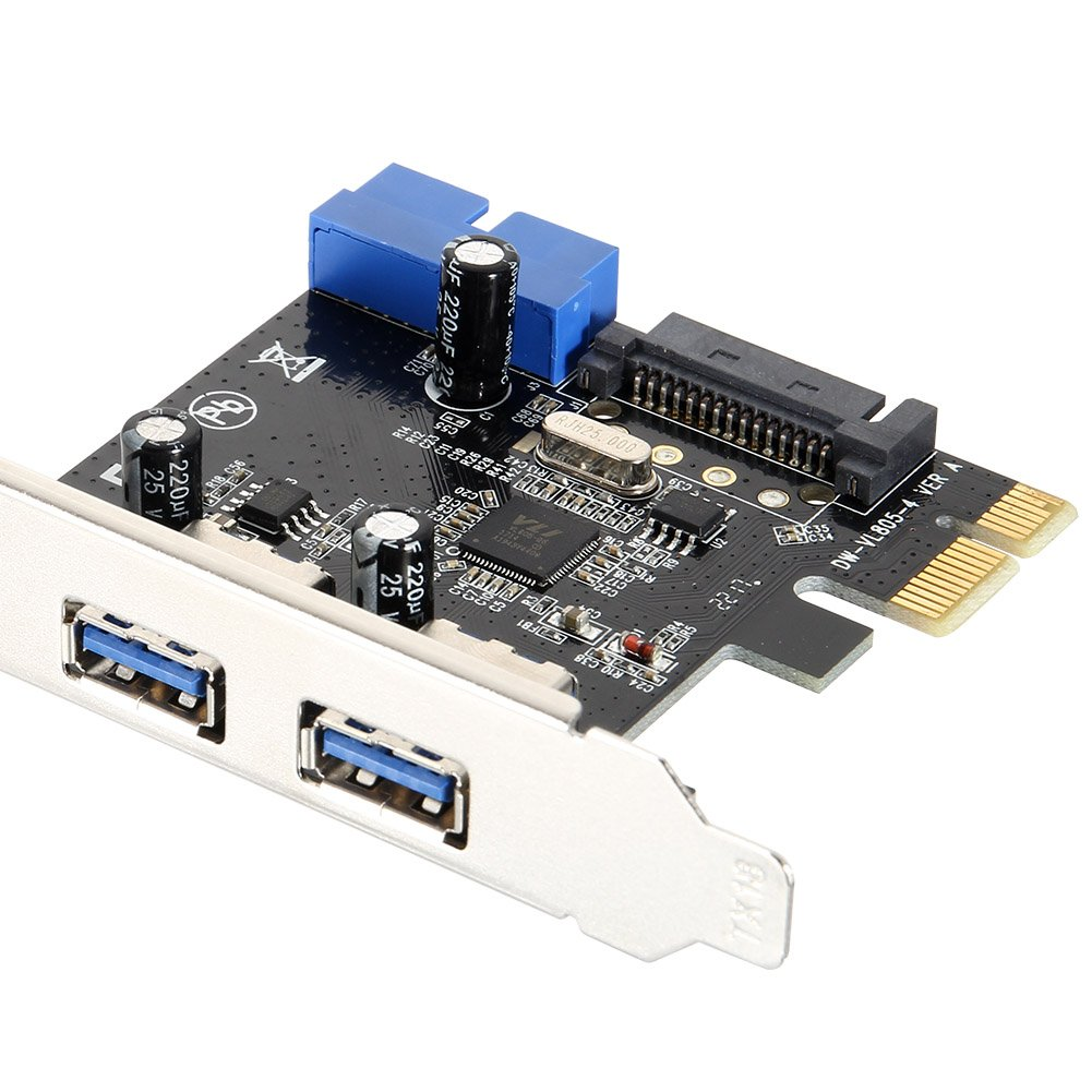Lanceasy Superspeed 2 Ports USB 3.0 Expension Card PCI-E 15 Pins SATA 5 Gbps Netzanschluss