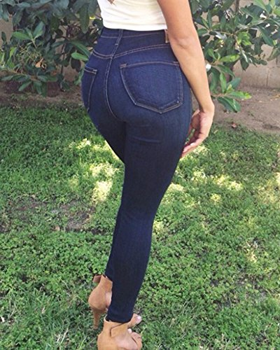 Vaqueros Alta Jeans Azul Elástico Skinny Cintura Marino Mujer Pantalones YFAxqgww